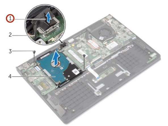 Using the pull-tab, disconnect the hard drive cable from the system board.