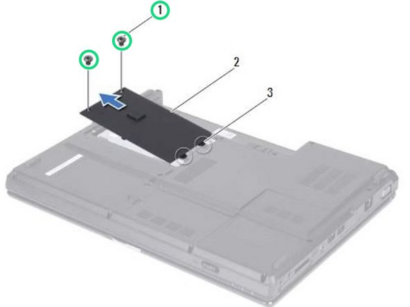 Replace the two screws that secure the hard-drive cover to the computer base.