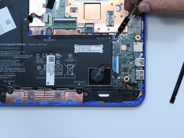 Use a Phillips #00 screwdriver to remove  six 5 millimeter screws from the battery.