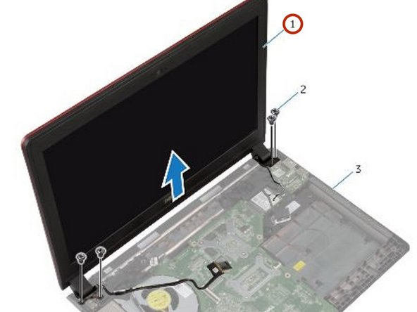 Place the NEW display assembly on the computer base and align the screw holes on the display assembly with the screw holes on the computer base.
