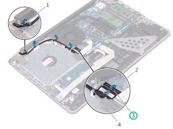 Lift the latch and disconnect the display cable from the system board.