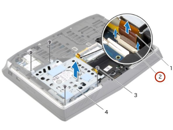 Carefully lift the secondary hard-drive assembly and then lift the latches to release  the secondary hard-drive cable from the system-board connector.