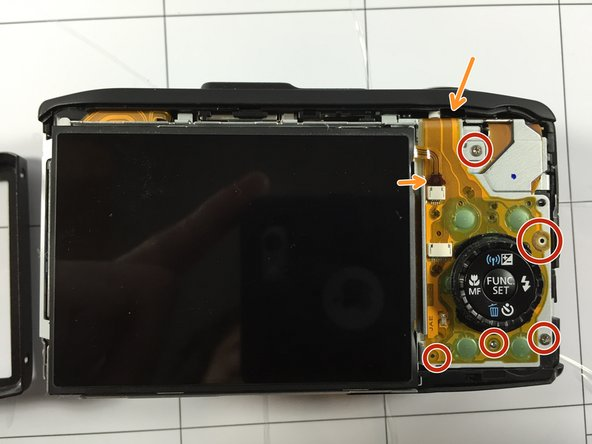 To remove the tabs from the camera, remove all screws.