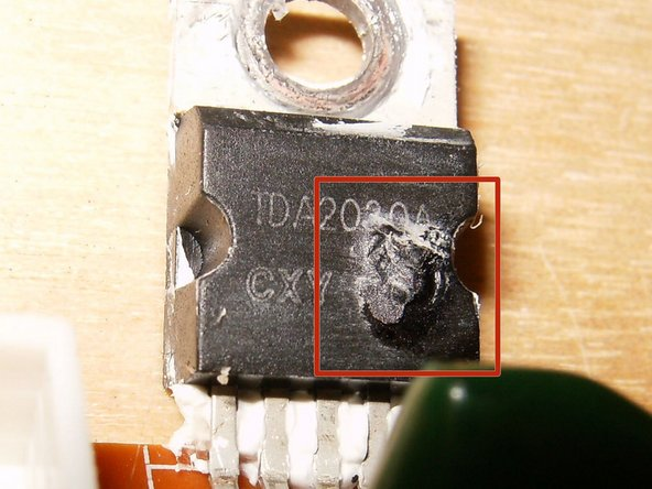 Here is a close up of the damaged IC. It is a TDA2030A 18 W hi-fi amplier / 35 W audio driver