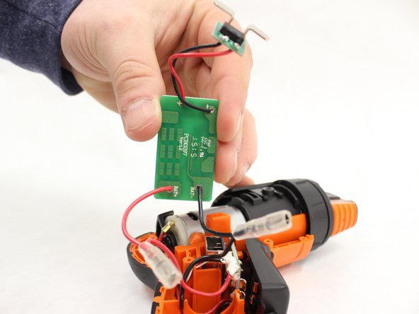 Locate the voltage regulator board near  back midsection of the handle on the screwdriver.