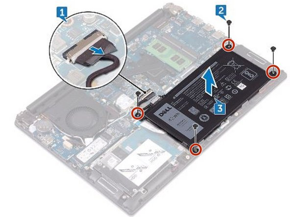 Align the screw holes on the NEW battery with the screw holes on the palm rest and keyboard assembly.