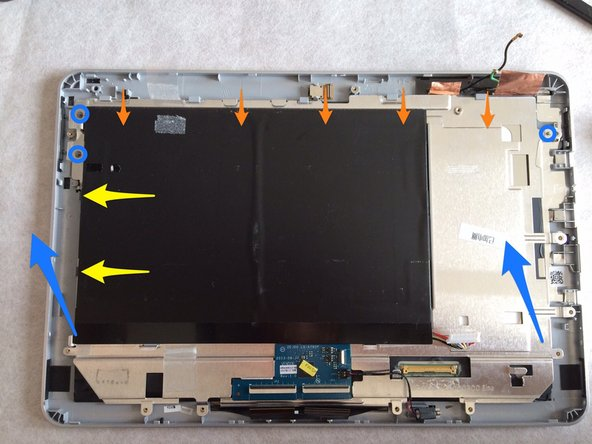 3 points to remove the metal plate with the battery pack :