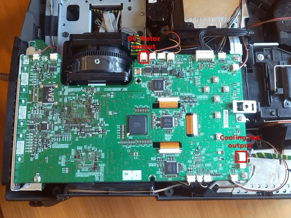 Also, the DC motor's and the cooling fan's output pins are marked on this image.