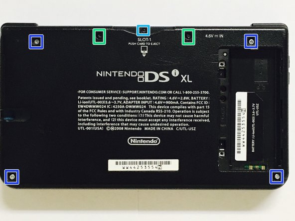 Remove the presenting screws in order to take the bottom part of the Dsi  Xl off.
