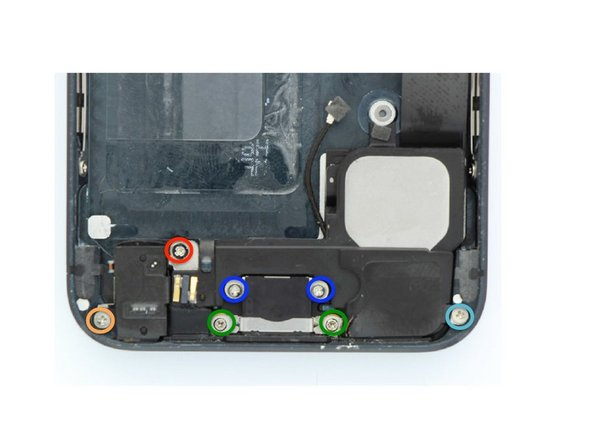 Remove the following screws that secure  the dock connector, headphone jack, and loud speaker into the frame.