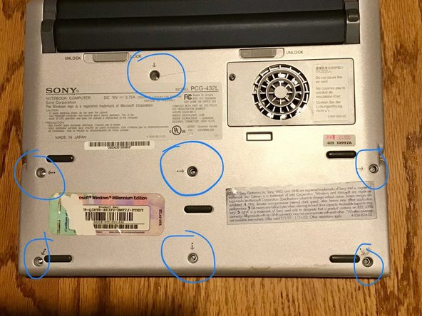 Flip the computer over, and remove all screws circled in picture provided.