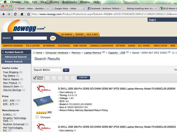 Head over to Newegg and buy yourself a 2gb DDR2, 667mhz laptop memory to install in your Aspire One.
