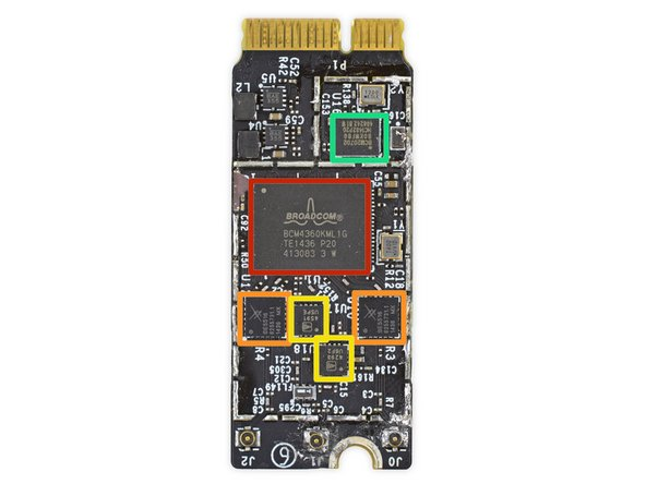 Gone is the funky cable-connected AirPort card of yesteryear, this AirPort card is now full-fledged PCIe, supporting Wi-Fi ac.