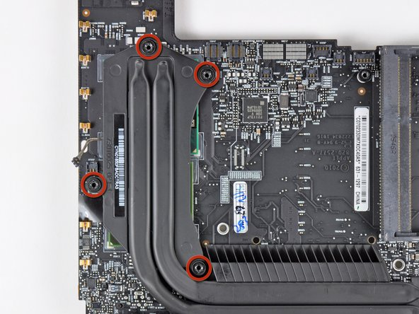 Remove the four 8.5 mm T8 Torx screws securing the heat sink to the logic board.