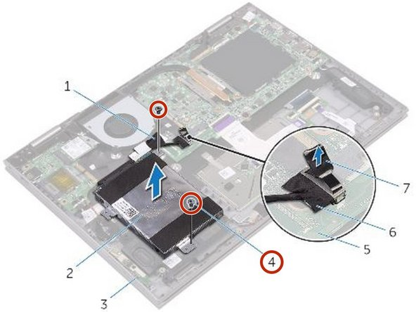 Remove the two screws (M2x3.5) that secure the hard-drive assembly to the palm-rest assembly.