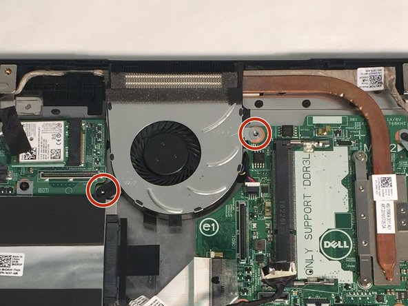Remove 1 M2 2mm wafer screw, using the Phillips 1 screwdriver, on the cooling fan.
