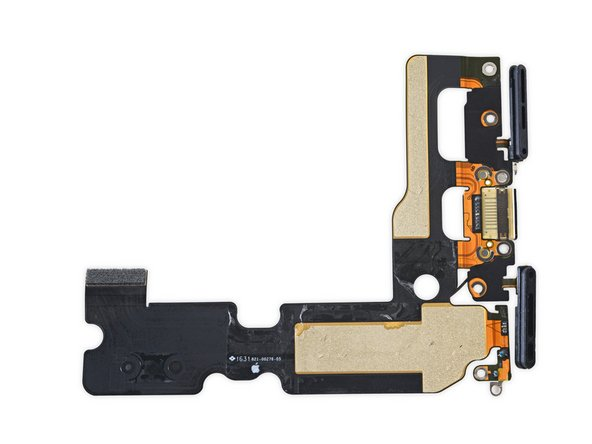 Image 3/3: This cable assembly also features the most substantial gasketing we've seen on a Lightning connector. While [https://www.ifixit.com/Teardown/iPhone+6s+Plus+Teardown/48171#s107903|last year's models used foam adhesive|new_window=true] to keep out water and dust, this one features a full-on rubber gasket, capable of holding back a 50 meter column of water.