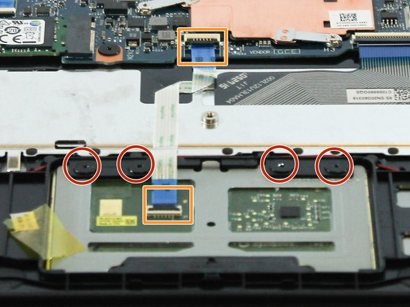 Use a spudger to lift up the two black tabs on the ZIF connectors and then pull the cable out by the blue tab.