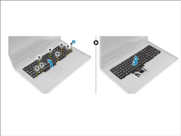 Remove the screws that secure the keyboard to the computer [1].