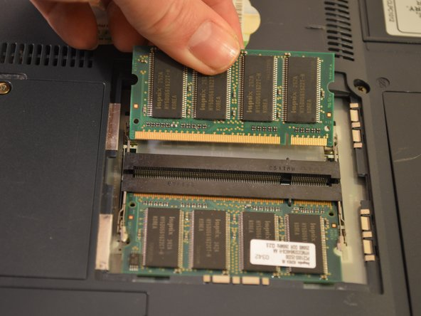 This laptop supports a maximum of two memory modules. The largest capacity for each is 256MB of PC1600 DDR SDRAM.