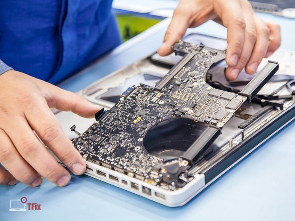Image 3/3: '''Multilayered high population logic board located within latest electronic devices are prone to flex damage, which causes cold solder joint appearance. Any kind of flexing or mishandling of the PCB should be avoided.'''