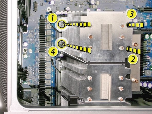 Using a long-handled, magnetized 3 mm flathead hex screwdriver, loosen the four captive mounting screws for the upper processor heatsink in the order indicated below.