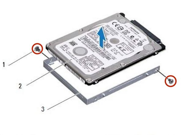 Replace the two screws that secure  the hard-drive bracket to the hard  drive.