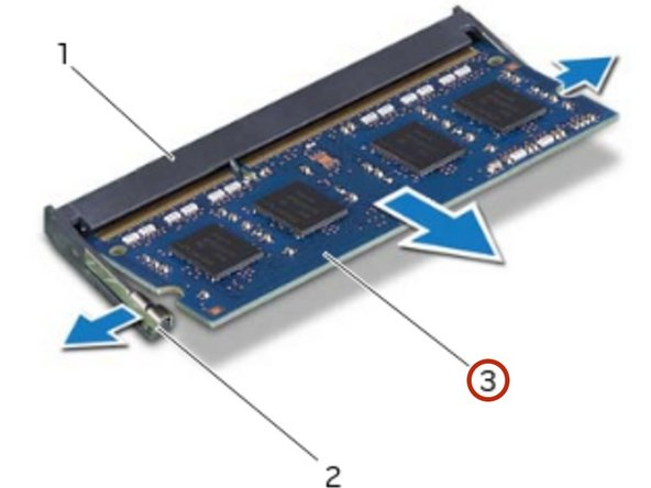Slide the memory module firmly into the connector at a 45-degree angle and press the memory module down until it clicks into place. If you do not hear the click, remove the memory module and reinstall it.