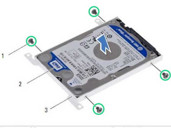 Replace the screws that secure the hard drive to the hard-drive bracket.