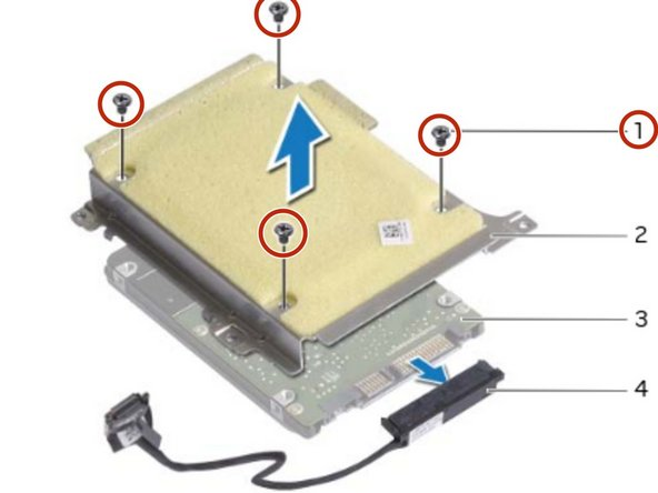 Remove the screws that secure the hard-drive bracket to the hard drive.