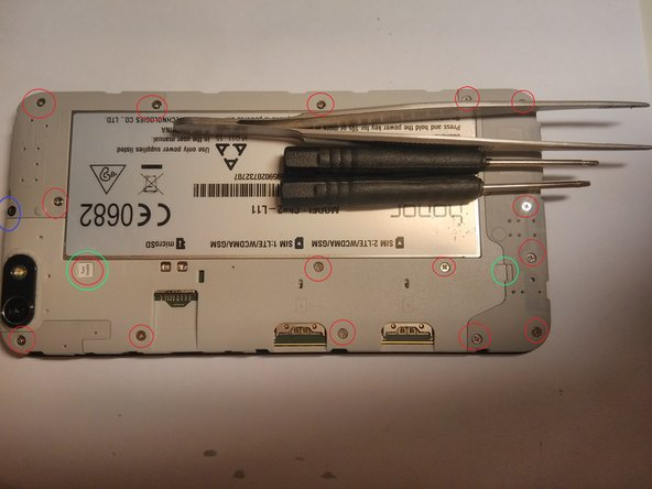 After removing the back cover, SIM-card(s) and the SD-card, proceed to unscrew all 17 screws.