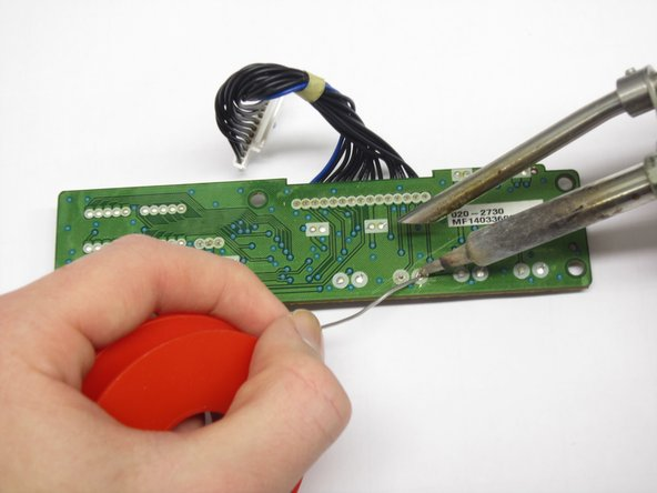 Solder the new push button on.