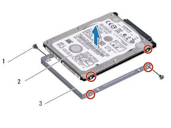 Align the screw holes on the hard-drive  bracket with the screw holes on the hard drive.