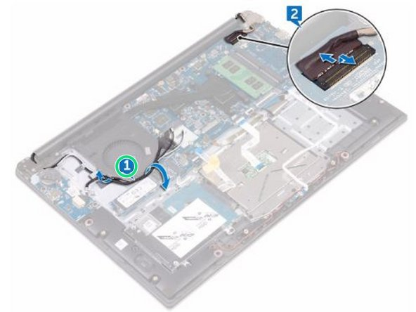 Slide the display cable into the connector on the system board and close the latch to secure the cable.