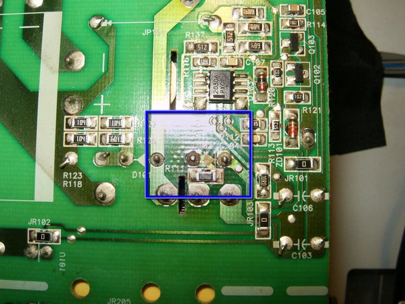 Discoloration of the back side of the power board is a sign of a faulty diode.