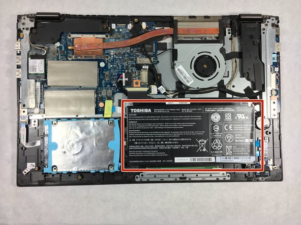 The battery is located in the bottom right corner of the laptop.