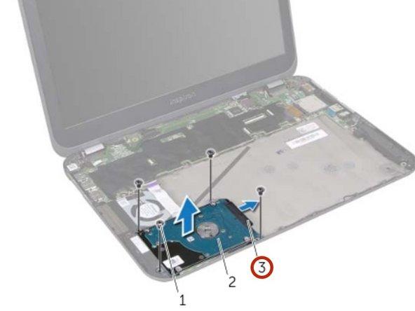 Desconecte el conector del cable del disco duro del conjunto del disco duro.