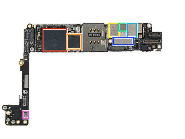 Image 1/1: Apple A10 Fusion APL1W24 SoC + Samsung 3 GB LPDDR4 RAM (as denoted by the markings K3RG4G40MM-YGCH)