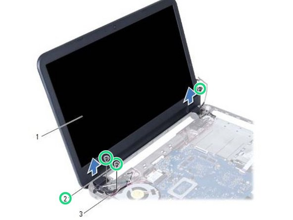 Replace the screws that secure the display assembly to the computer base.