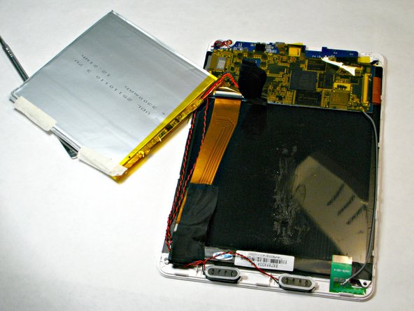 The battery is now disconnected from the tablet and can replaced. Re-installation of the new battery and tablet assembly can be completed by following the same steps in reverse.