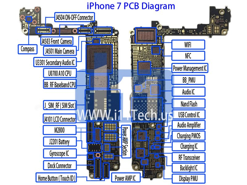 Details Schematic Diagram For Iphone 7 7plus Pcb