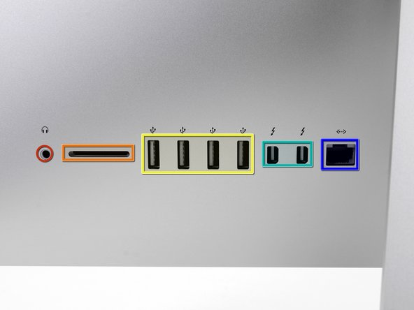 Since the new iMac is barely thicker than a CD itself, it does not include an optical drive. However, it still does sport a plethora of ports: