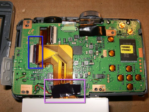 This particular camera has some Kapton tape holding the cable to the logic board. Gently remove it from the board only.