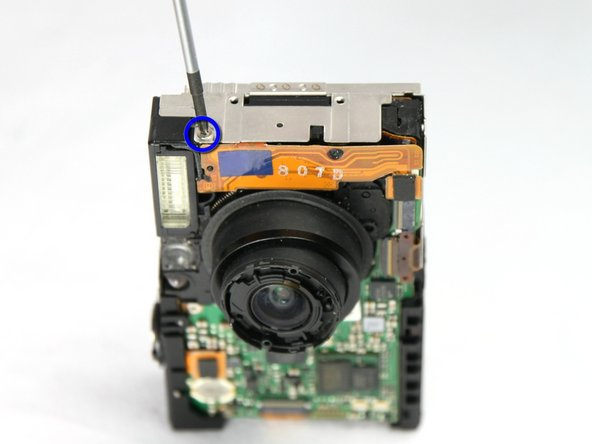 Remove the screw securing the flash assembly.