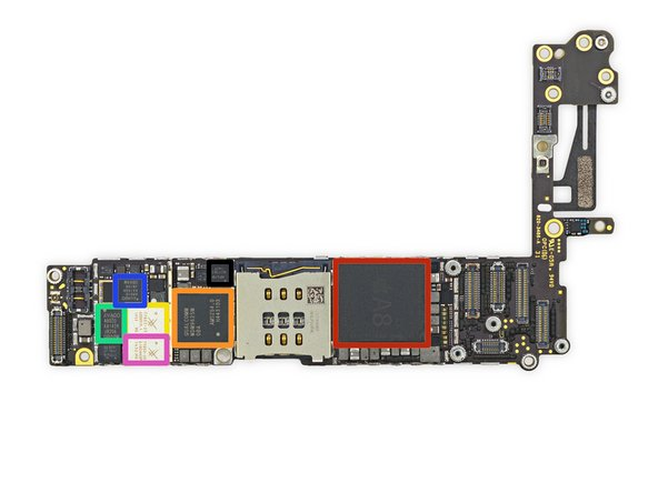 Image 1/2: Apple A8 APL1011 SoC + SK Hynix RAM as denoted by the markings H9CKNNN8KTMRWR-NTH (we presume it is 1 GB LPDDR3 RAM, the same as in the iPhone 6 Plus)