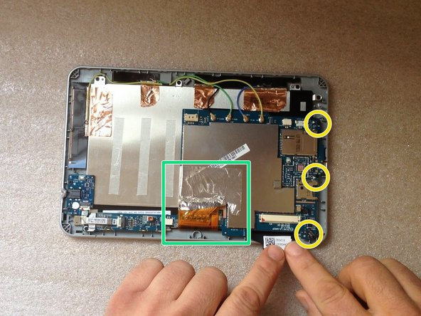 Carefully unstuck the metal folio from the LCD display flex cable.
