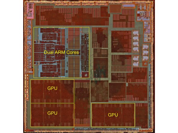 Journey to the center of the A6. The most prominent features inside are the Dual ARM cores, and the three PowerVR graphics cores.