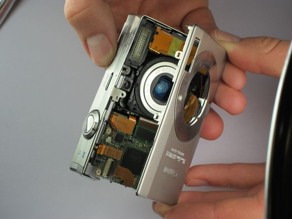 Image 2/3: Once the screen cover is removed, the front cover and side plate will slide off (refer to pictures).