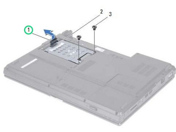 Pull the pull-tab on the hard-drive assembly towards the right to disconnect the hard-drive assembly from the system board connector.
