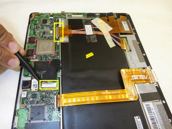 Image 2/3: Use tweezers to remove two wires connected from the battery to the motherboard.